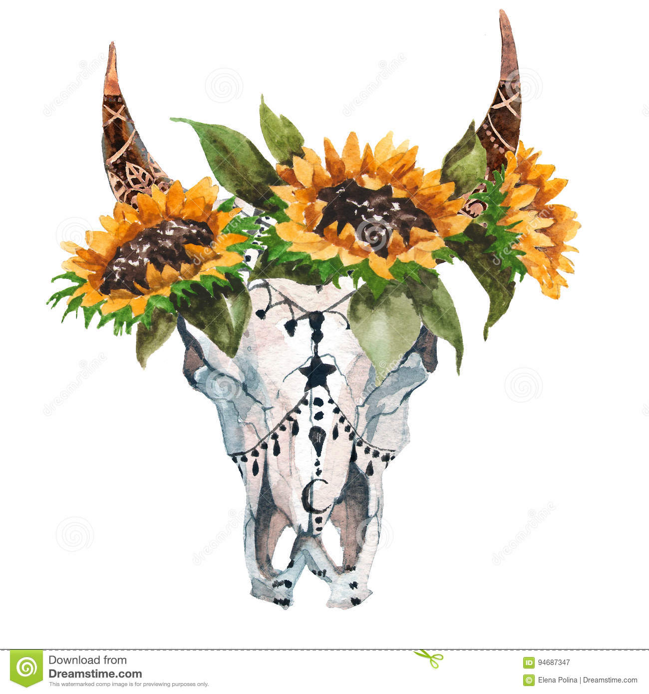 Fall Feather Wallpaper Watercolor Isolated Bull S Head With Flowers And Feathers