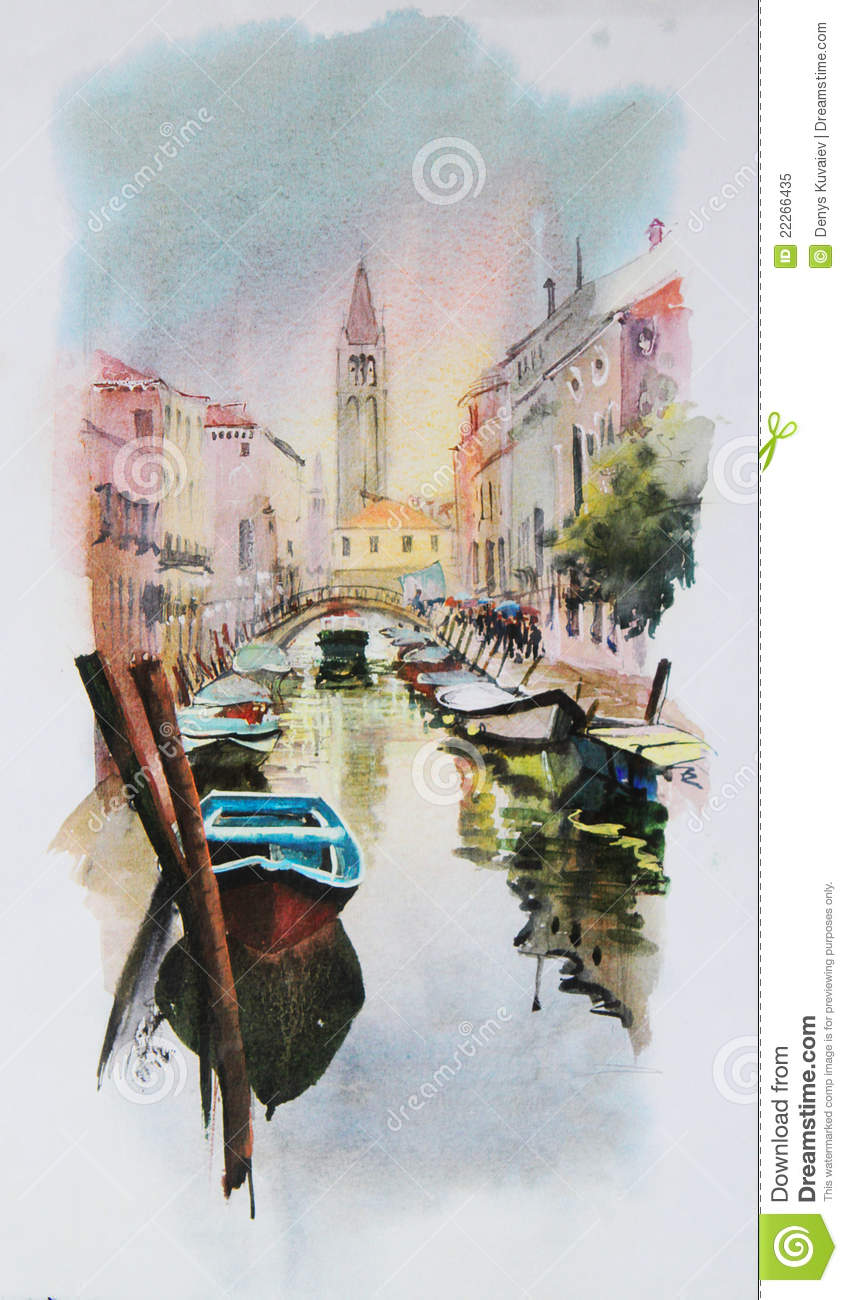 Watercolor Painting Of Venice Royalty Free Stock Photo  Image 22266435
