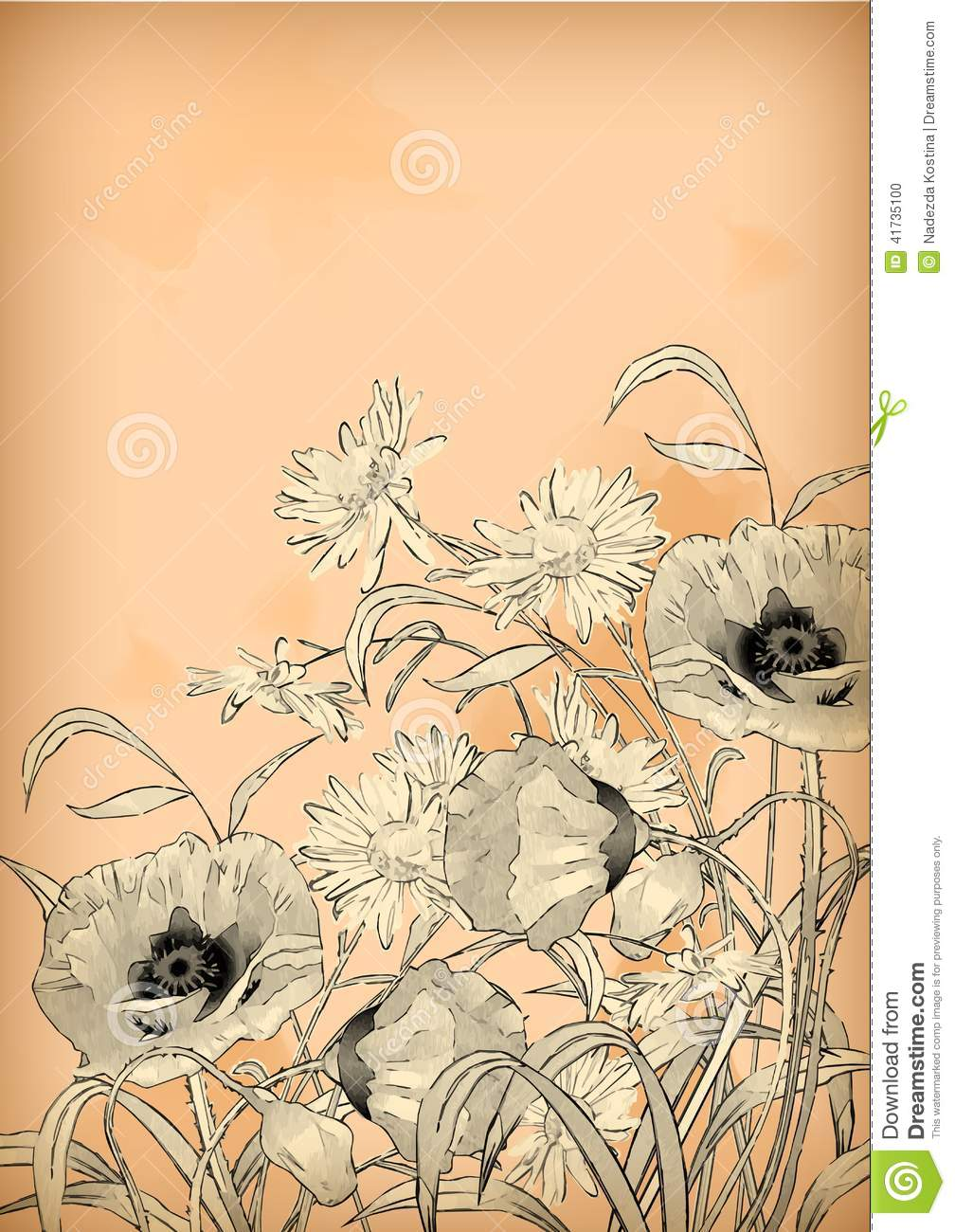 Watercolor Pencil Hand Drawing Flowers Stock Illustration