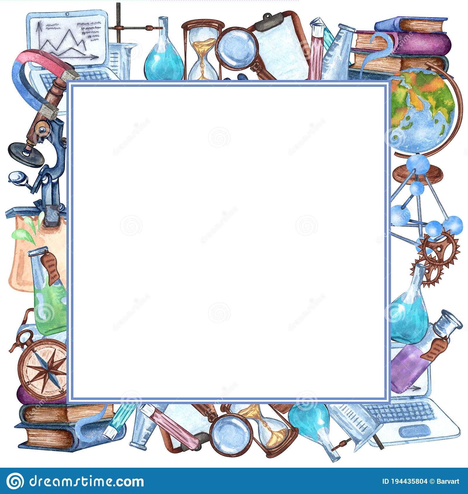 Watercolor Science Frame Of Laboratpry Equipment