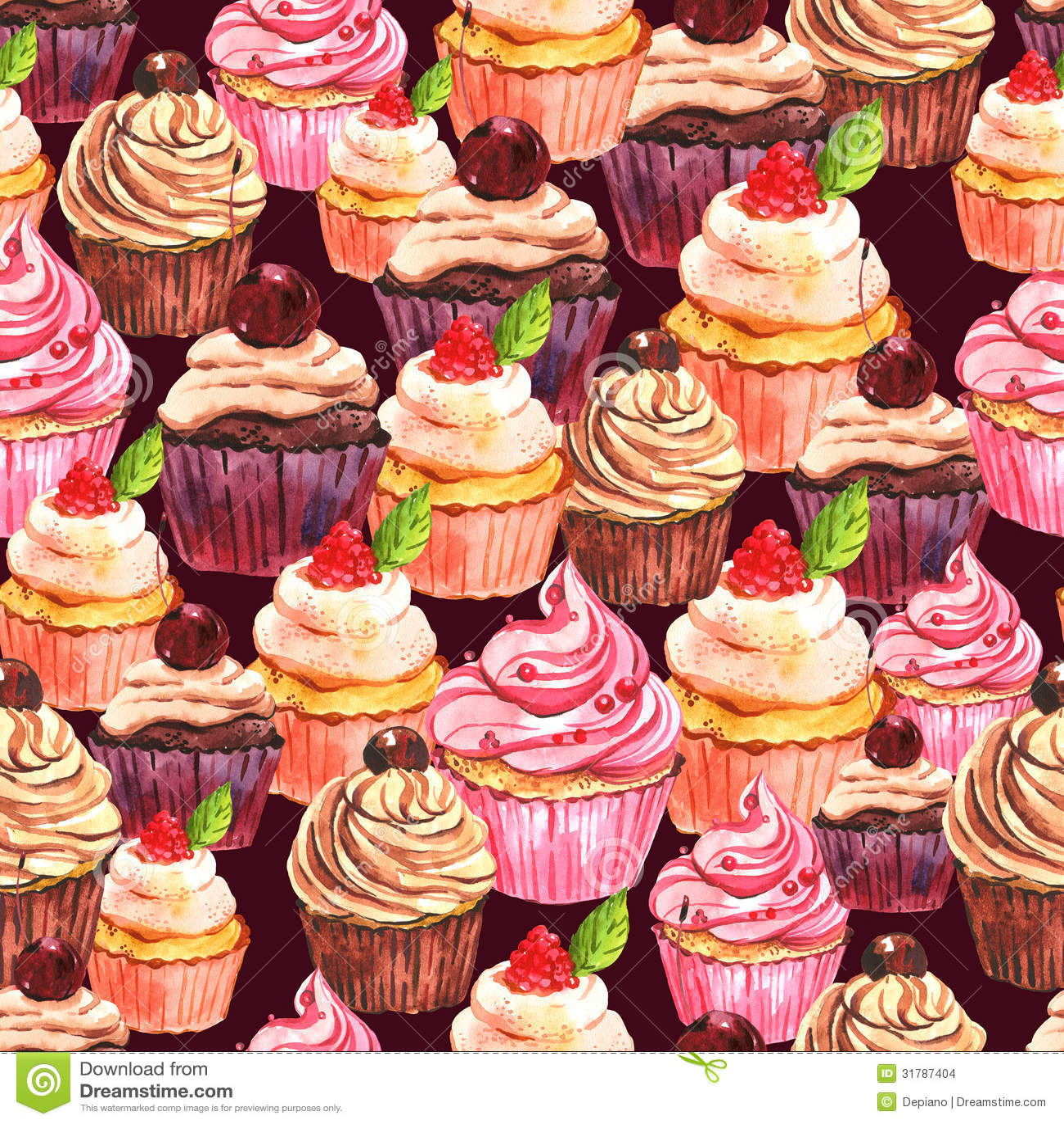 Cute Dessert Wallpaper Watercolor Seamless Cupcake Background Stock Illustration