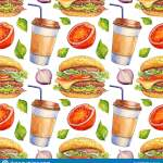 Watercolor Seamless Pattern With Burger And Drink Hand Drawn Fast Food Design For Cafe And Restaurant Illustration For Menu Stock Illustration Illustration Of Background Cooked 173757432