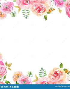 also watercolor spring floral frame with blush pink petals and rh dreamstime