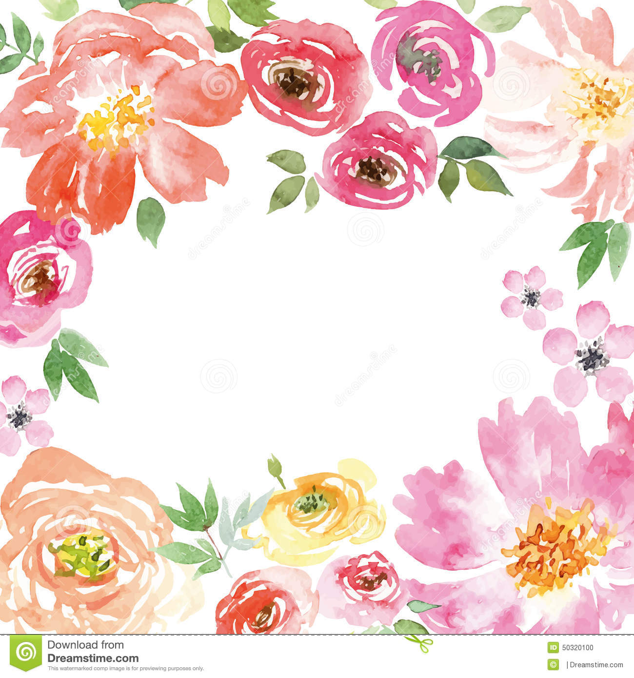 Watercolor Spring Flowers Stock Vector Image 50320100