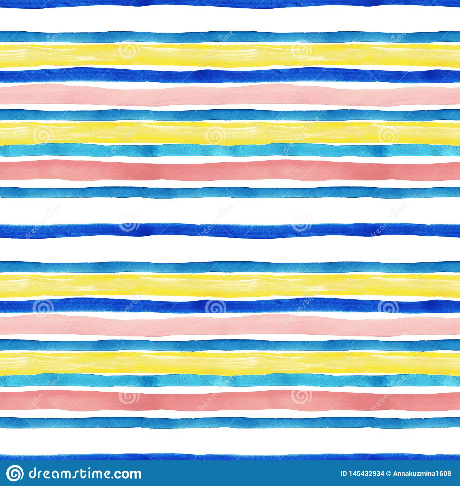 Watercolor Striped Seamless Pattern With Blue Turquoise Yellow And Pastel Pink Stripes On White Background Stock Illustration Illustration Of Retro Blue 145432934