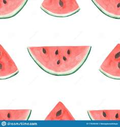 Watercolor Watermelon Slices Seamless Pattern Hand Drawn Fruit Pattern Summer Illustration Exotic Red Fruit Clip Art Stock Illustration Illustration of color nature: 178246446
