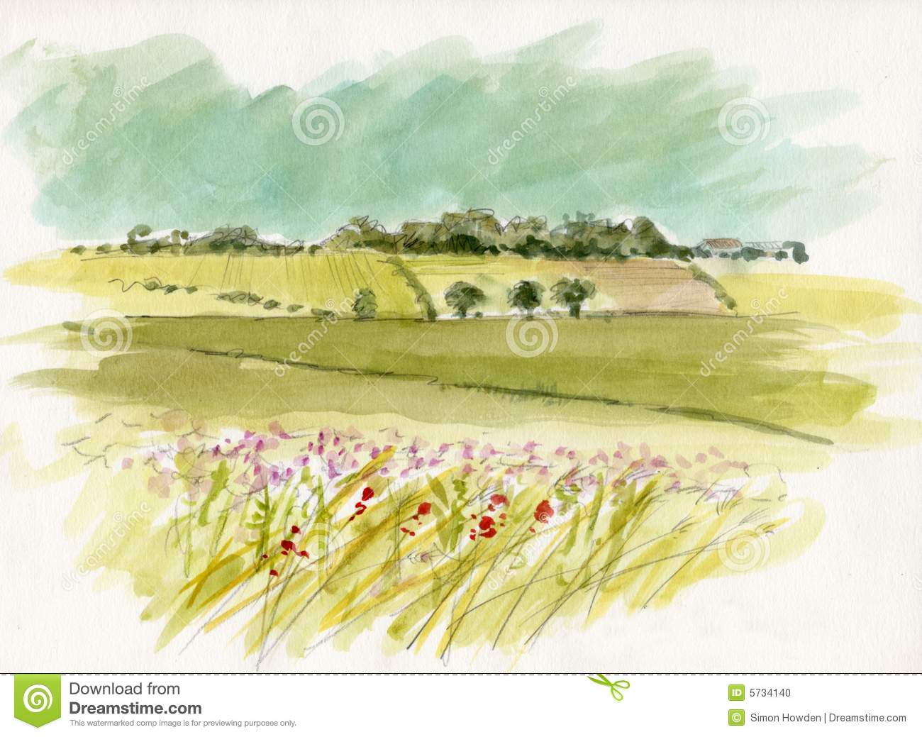 Watercolour Landscape Sketch Stock Photo  Image 5734140