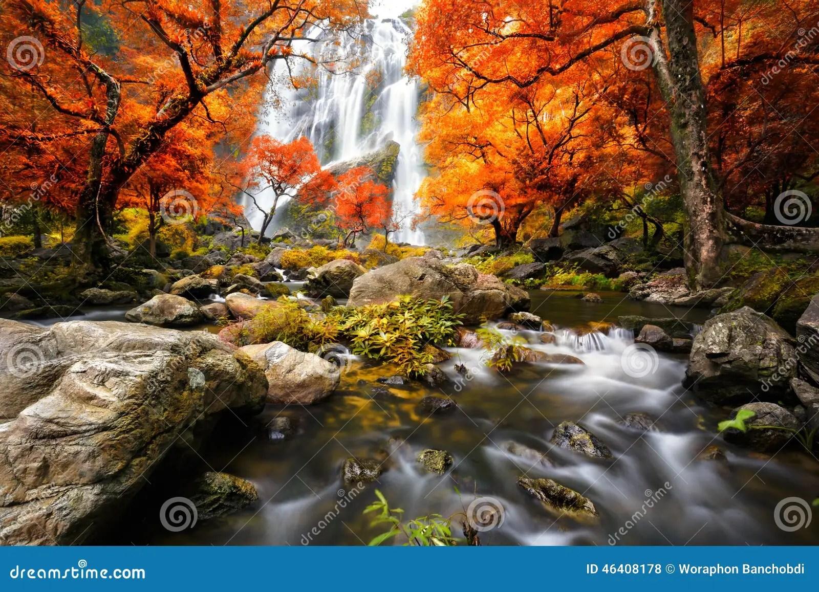 Tahquamenon Falls Michigan Winter Wallpaper Waterfall In The Autumn Stock Photo Image Of Green