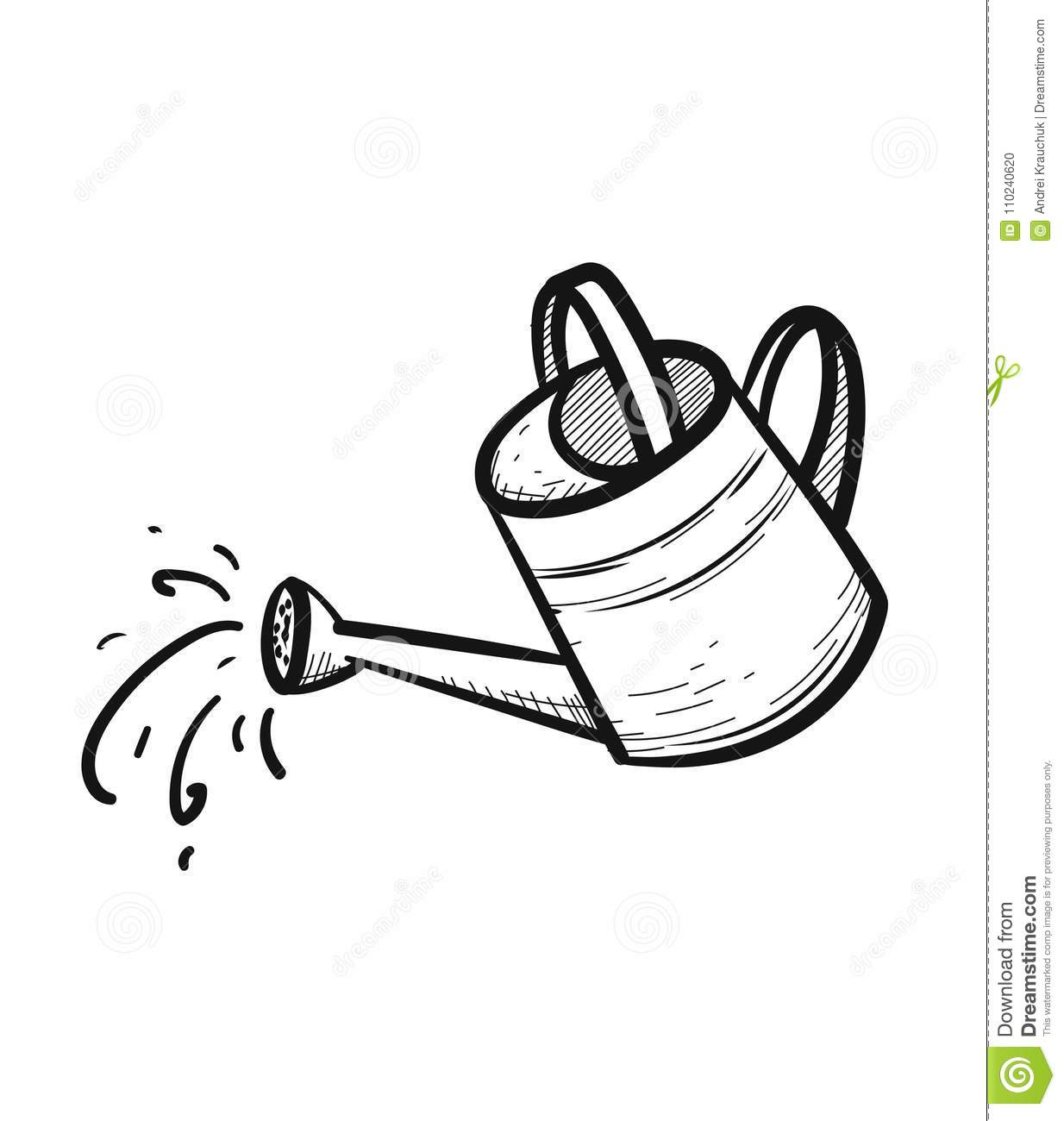 Watering Can Hand Drawn Sketch Icon Stock Vector