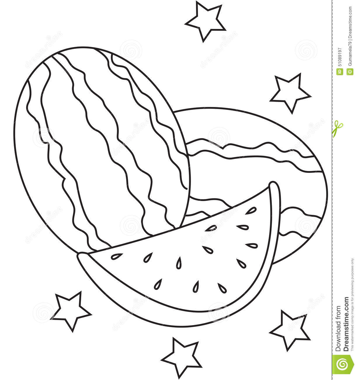 Watermelon Coloring Page Stock Illustration Illustration