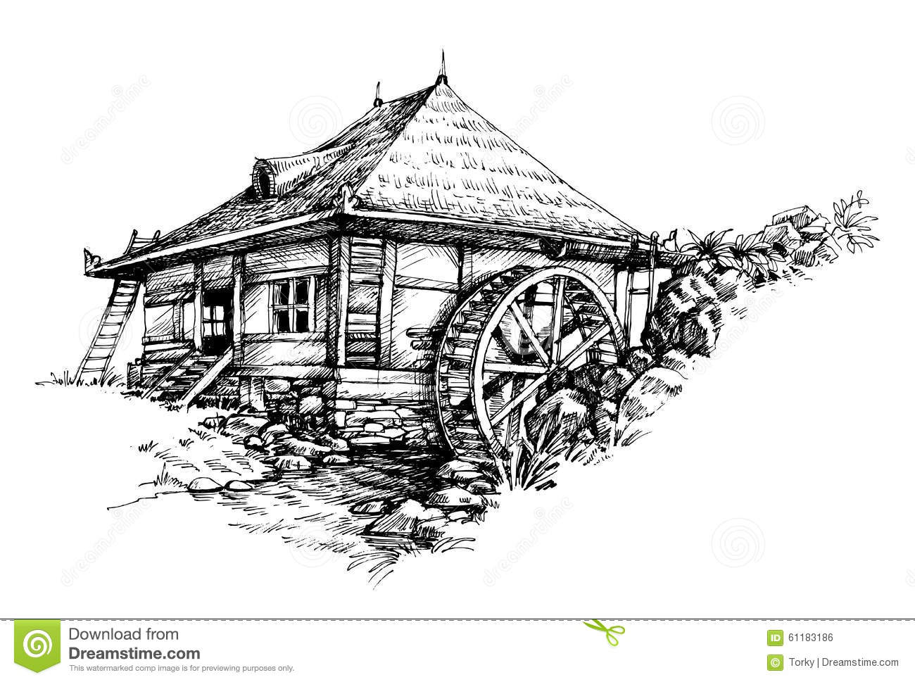 Watermill hand drawn stock vector. Image of outdoors
