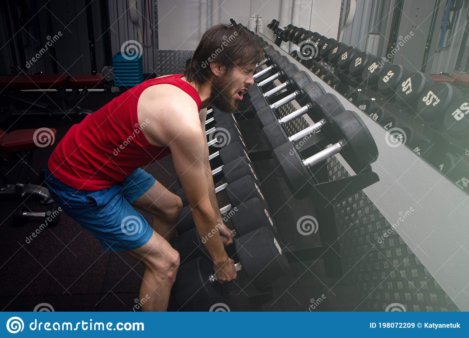 Weak Man Tries To Lift Heavy Dumbbell Wants To Be Strong ...