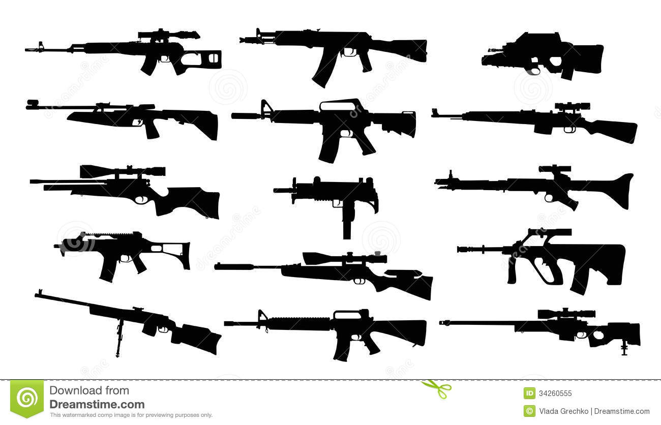 Weapons Set Of Rifles Stock Vector Illustration Of