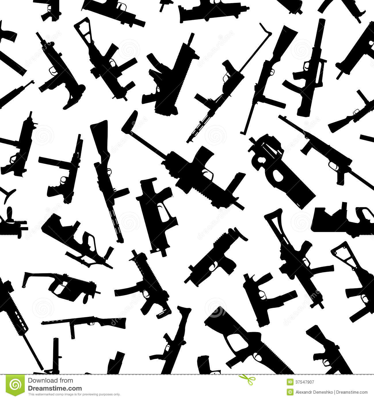 Weapons Silhouettes On White Seamless Pattern Stock