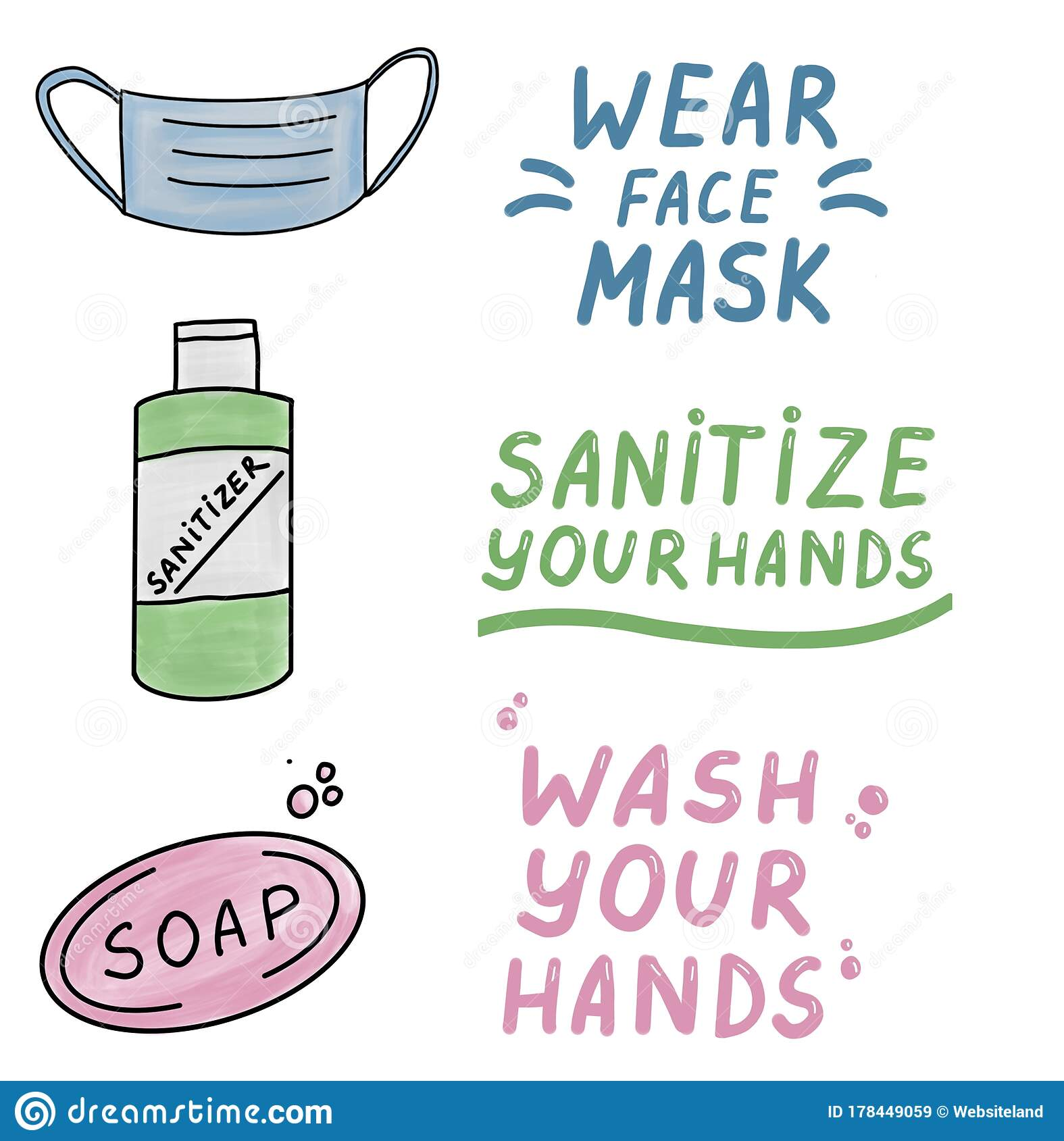 Wear A Face Mask Wash Your Hands Sanitize Your Hands
