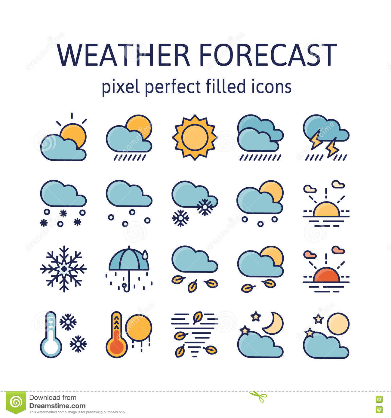 Weather Forecast Filled Outline Icons Pictogram And