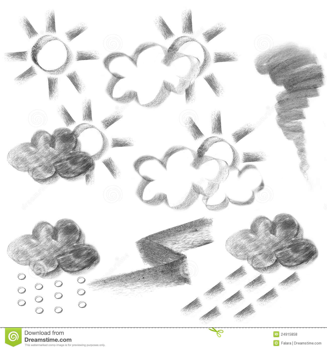Weather Forecast Icon Charcoal Drawing Royalty Free Stock