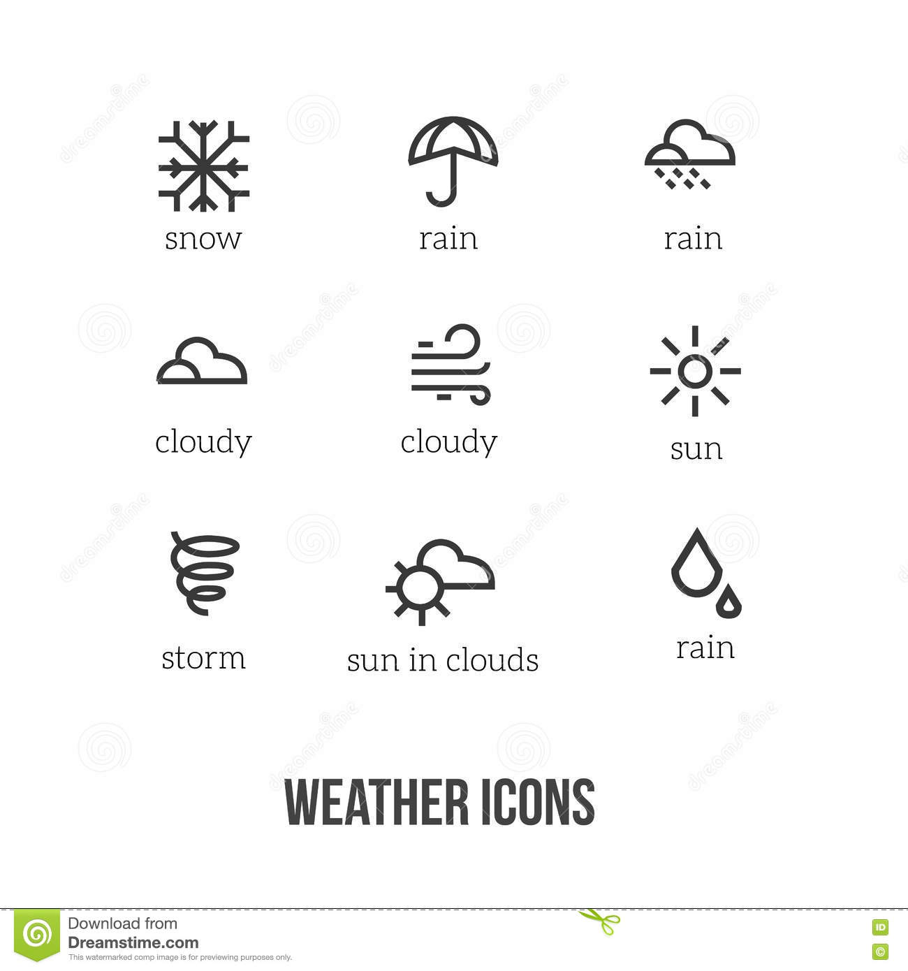 Weather Icons With Main Symbols Of Snow Rain Sun Cloud