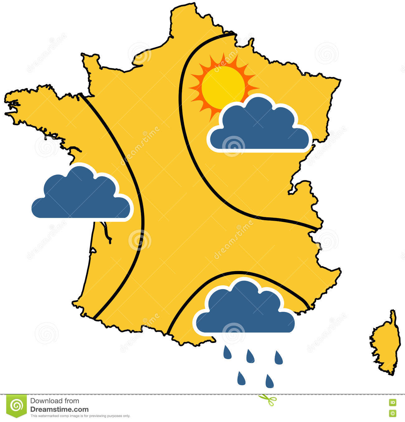 Weather Map In France Stock Vector Illustration Of Clear