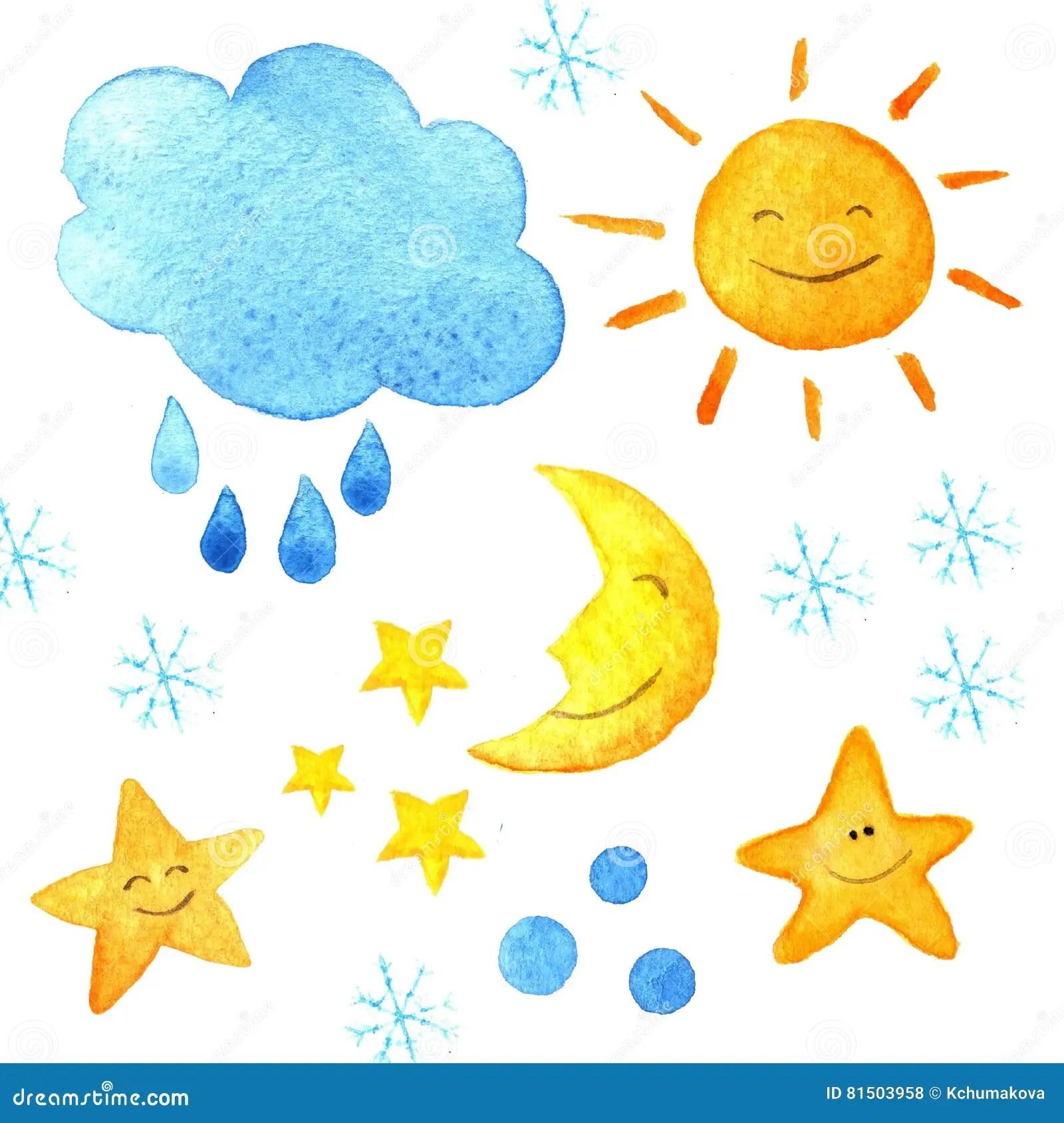 Weather Watercolor Pattern Cute Smiling Sun Moon Star