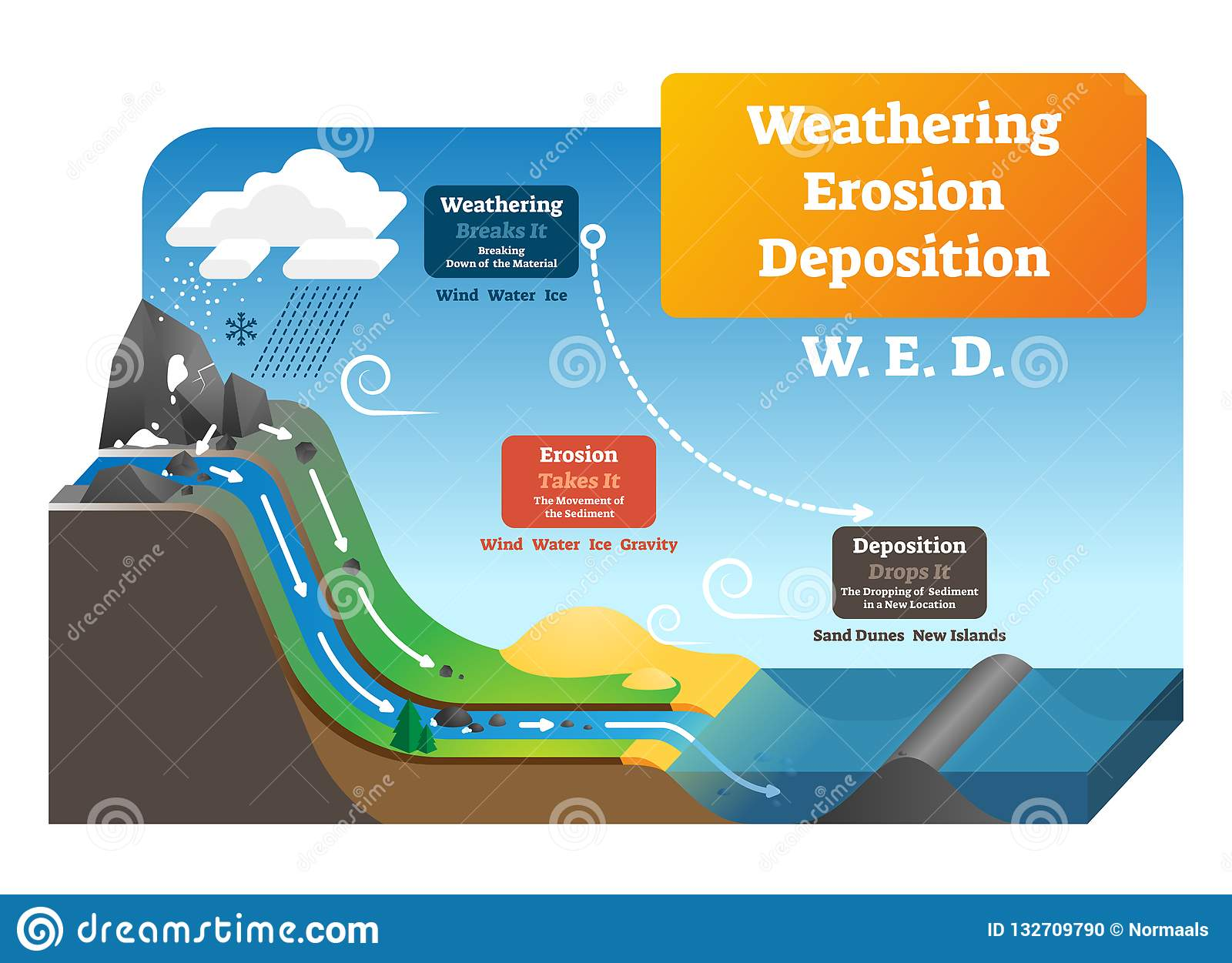 Weathering Erosion Deposition Vector Illustration Labeled