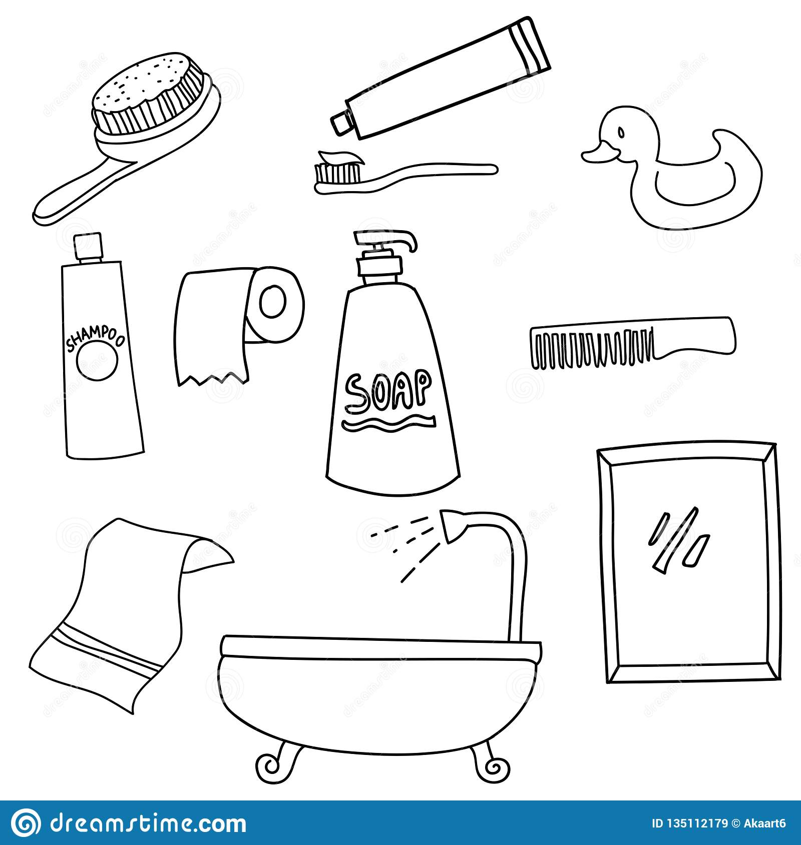 Set Of Bathroom Tools Line Art Icon Symbols Stock Vector Illustration Of Symbol Tool 135112179