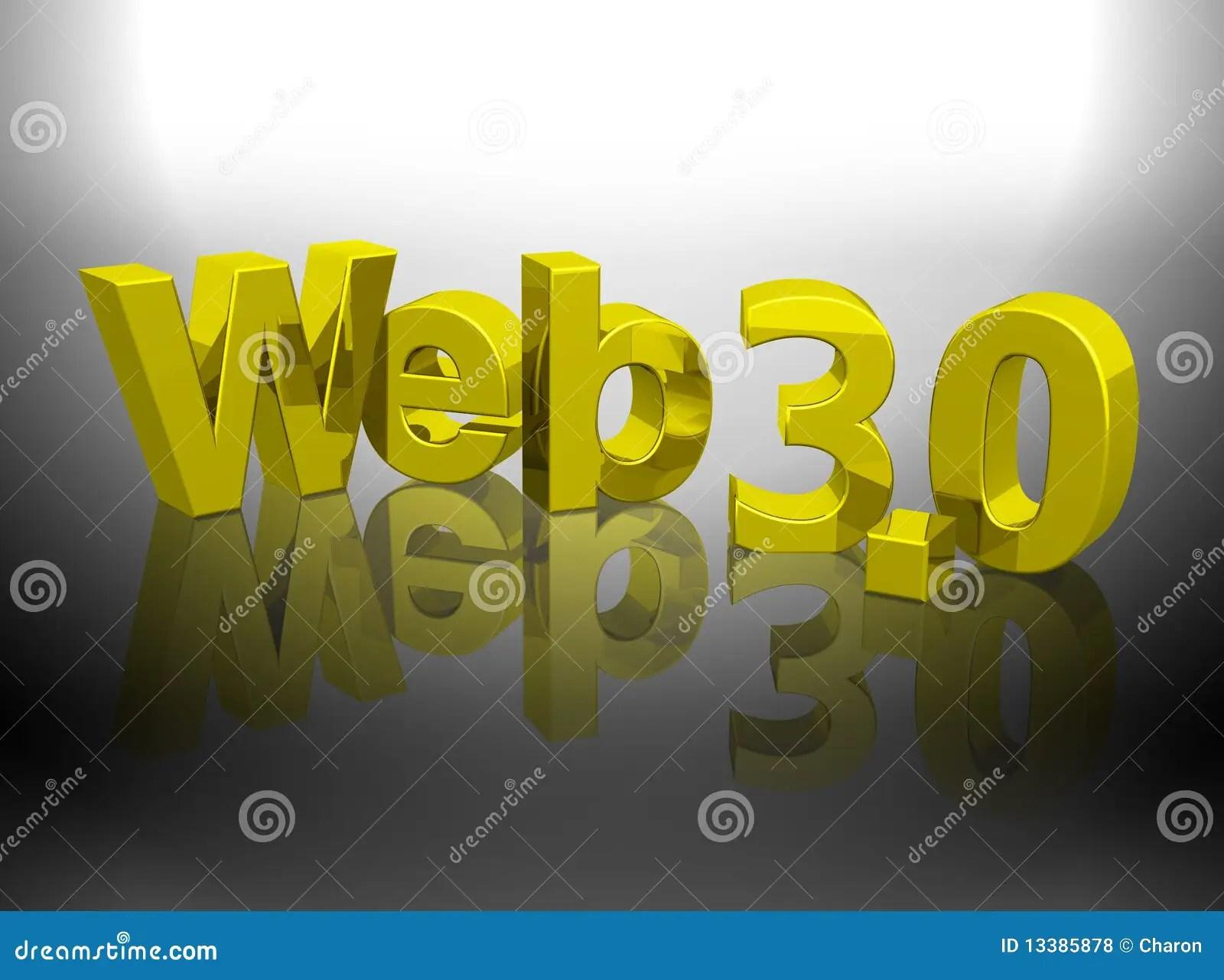 Web 3 0 3d Gold Shiny Word Royalty Free Stock Photos