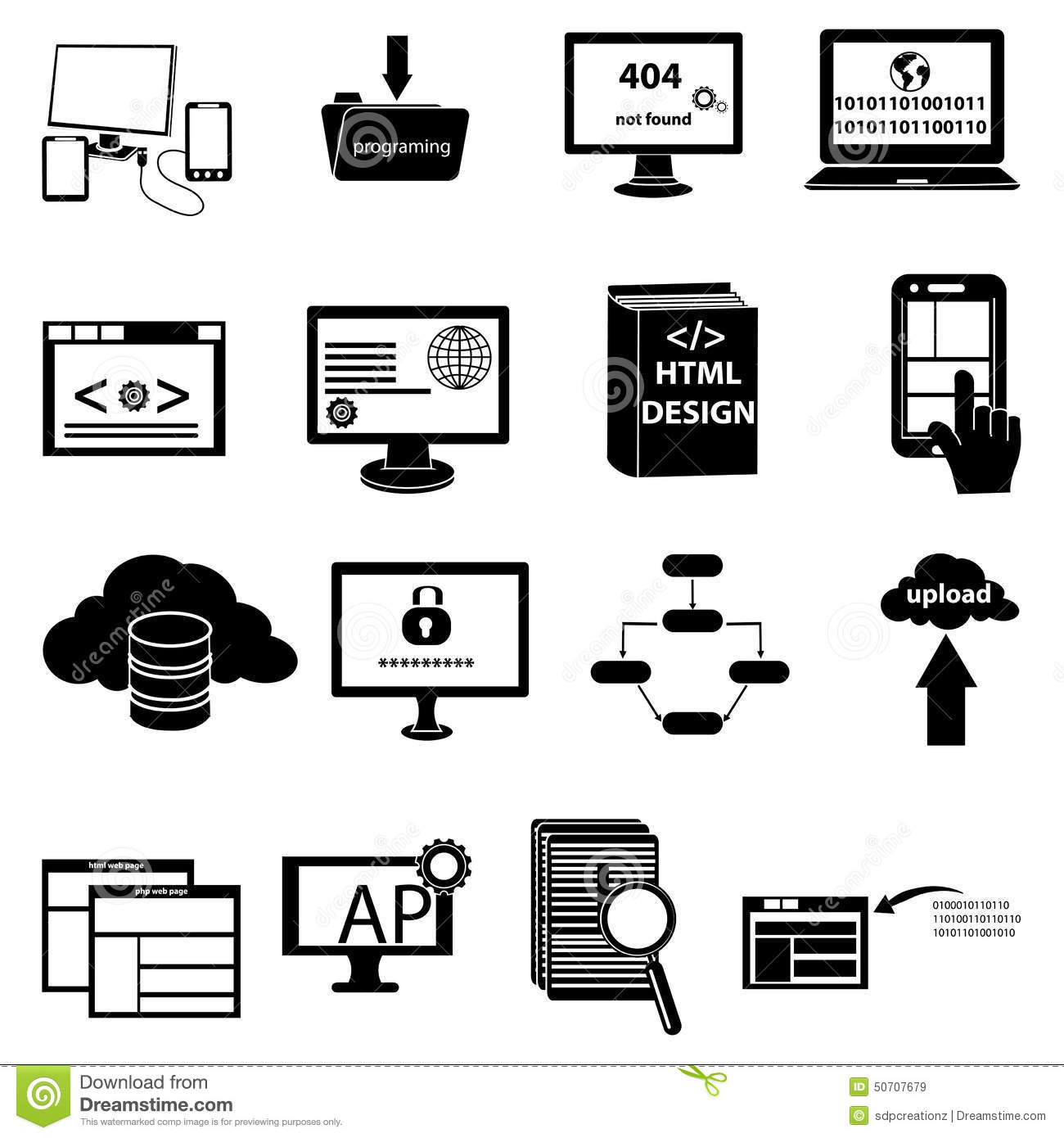 Web Development And Programming Icons Set Stock Vector