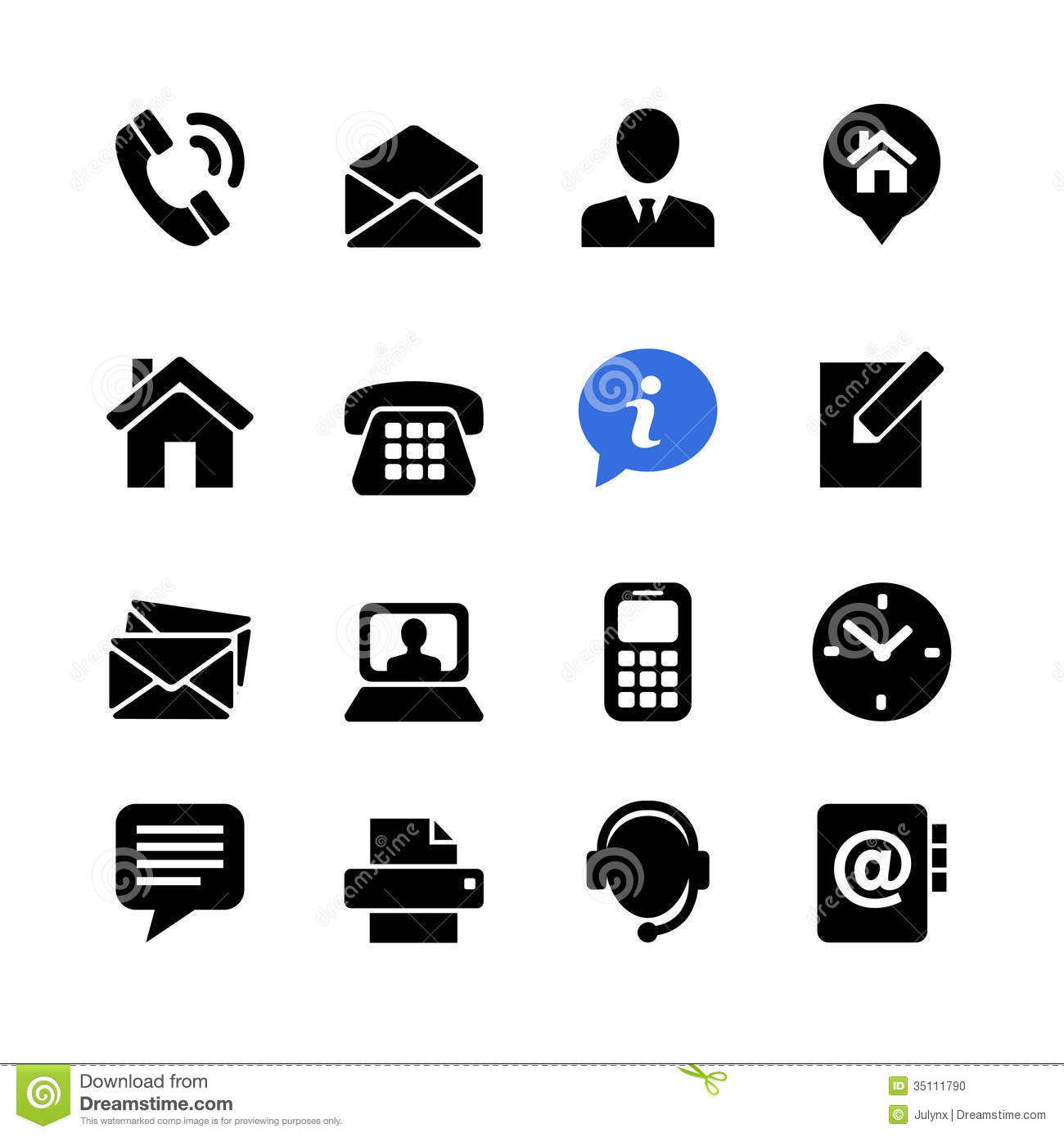 Web Icon Set Contact Us Stock Vector Illustration Of