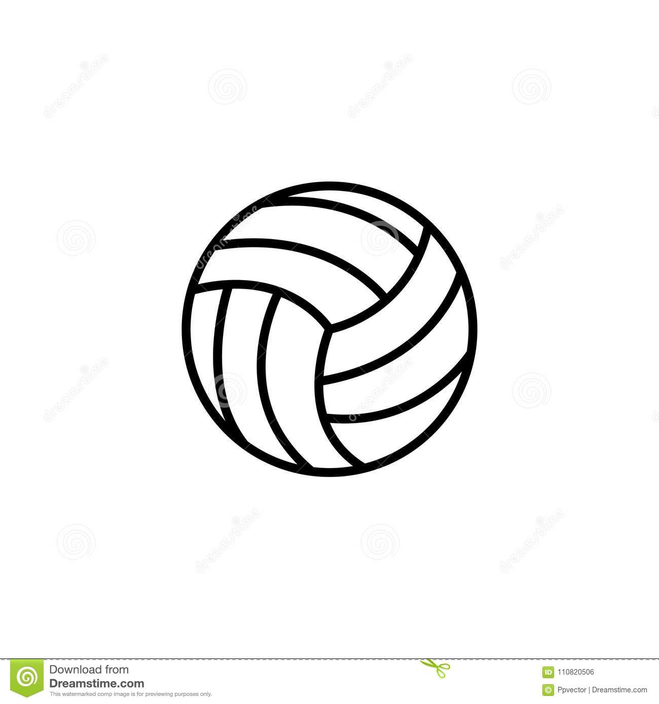 Line Icon Volleyball Symbol Sign Stock Vector