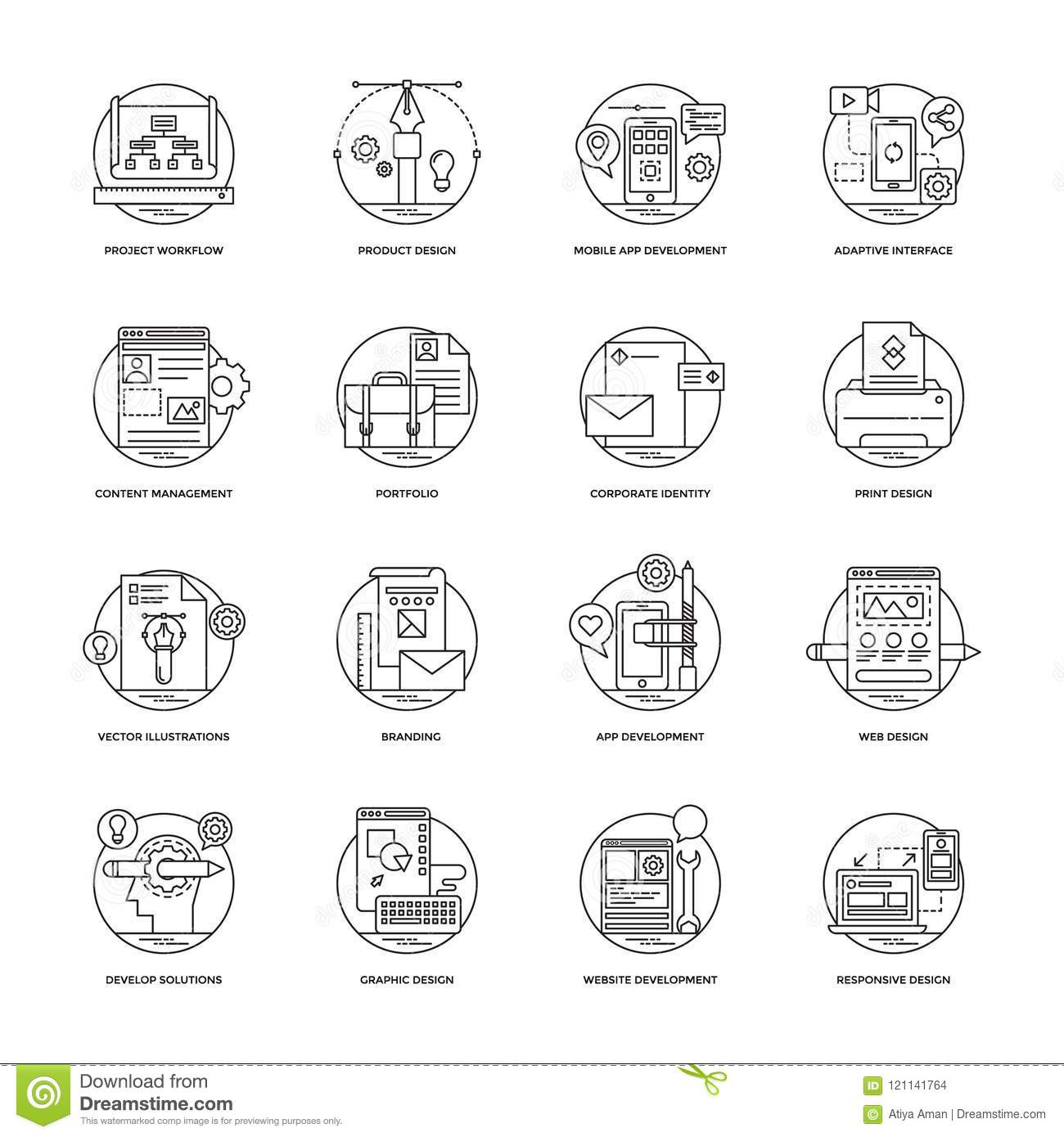 Web And Mobile App Development Line Icons 2 Stock