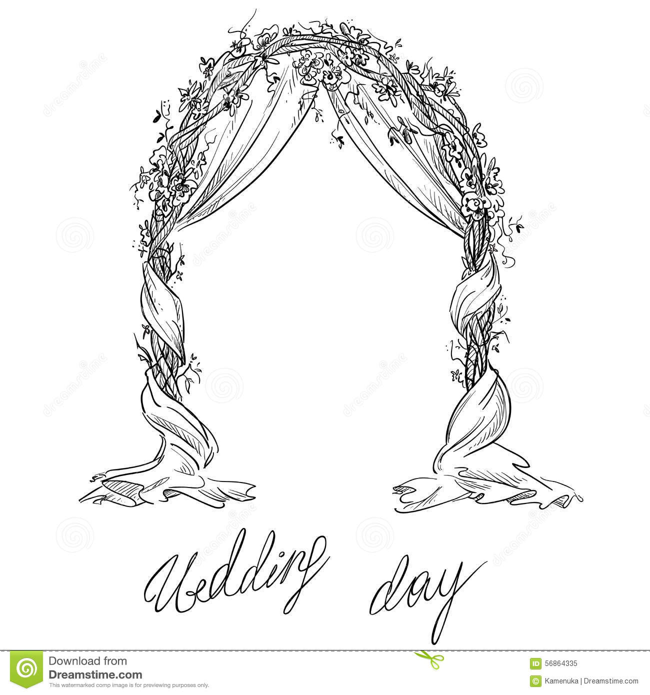 Wedding Arch Decoration Vector Sketch Stock Vector