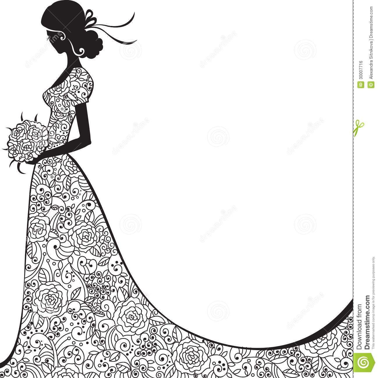 Elegant Silhouette Of The Bride Stock Vector