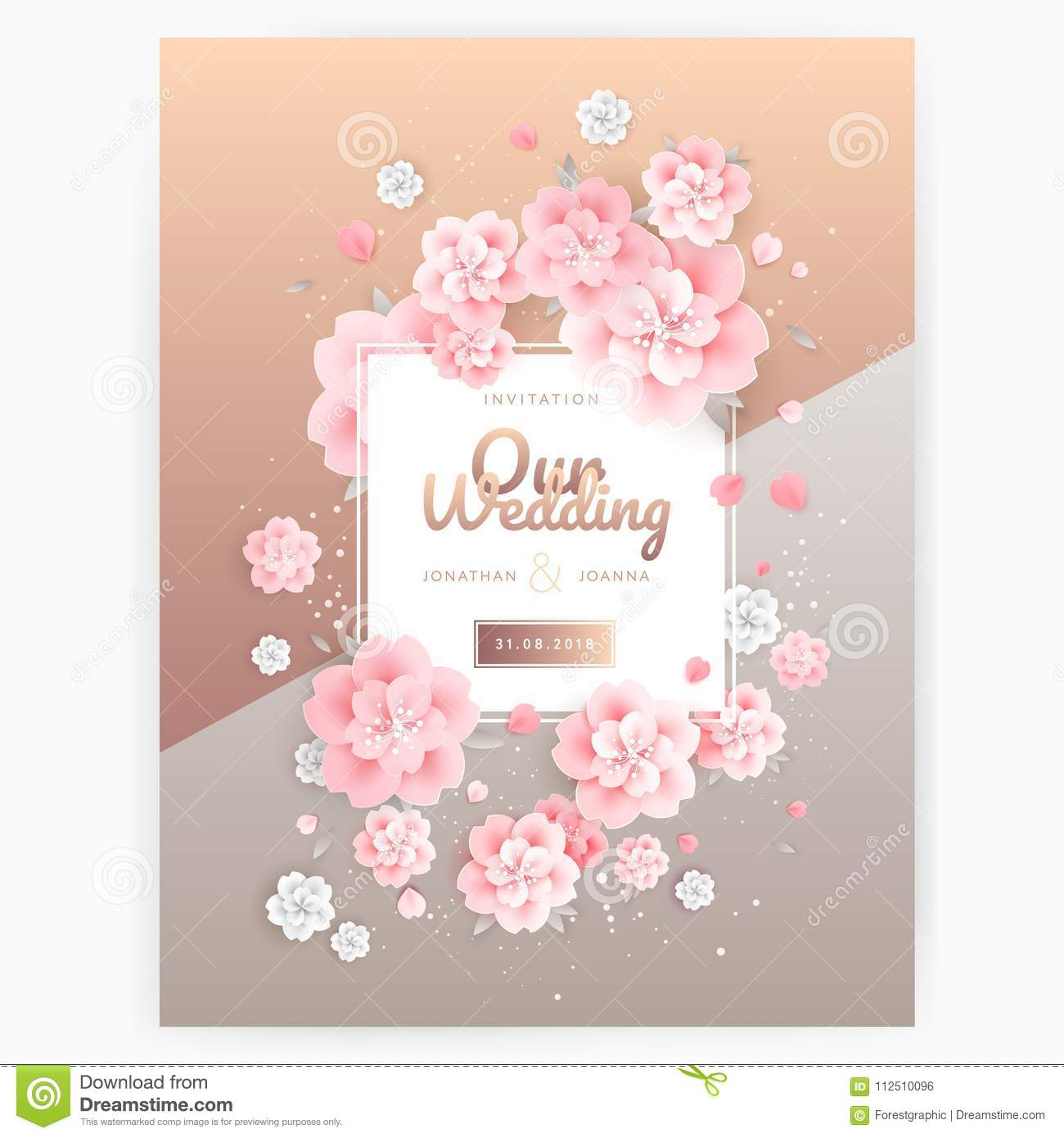Wedding Background Invitation Card Template Pink Roses On Gold Stock Vector Illustration Of Anniversary Blossom 112510096