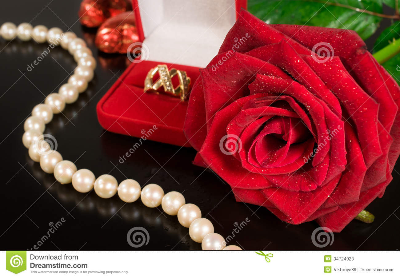 Red And Black Diamond Wallpaper Wedding Background Rose Pearls And A Gold Ring Stock