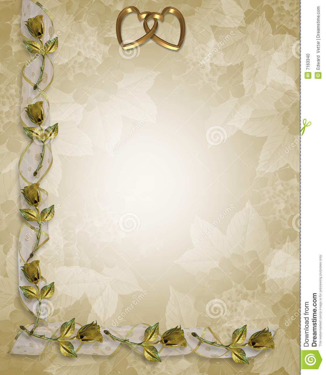 Wedding Border Gold Roses And Ribbons Stock Illustration  Image 7163340