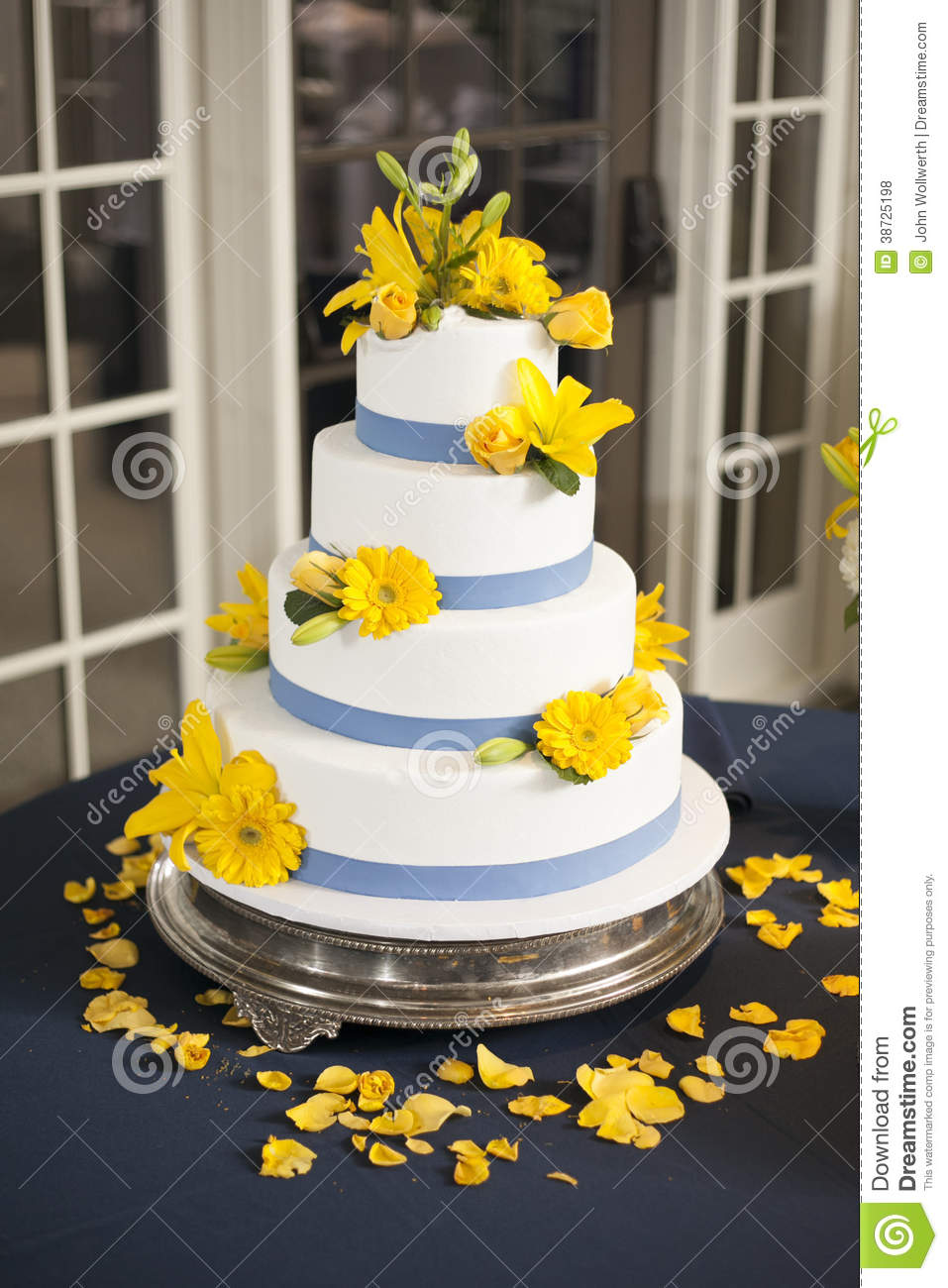 Wedding Cake With Yellow Flowers Stock Photo Image Of