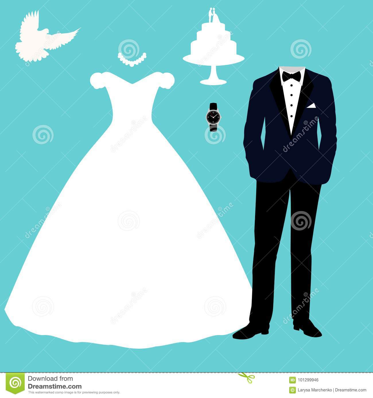 Wedding Card With The Clothes Of The Bride And Groom