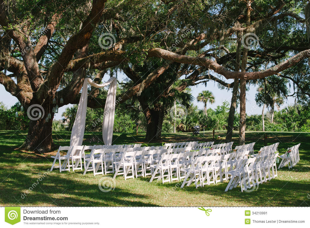 Wedding Ceremony Alter Chairs Under Oak Tree Stock Image
