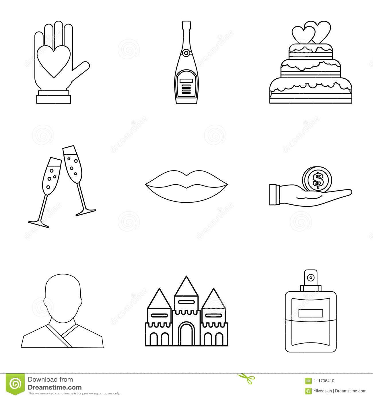 Wedding Ceremony Icons Set Outline Style Stock Vector