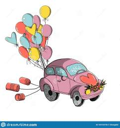 wedding clipart small retro car decorated with tin cans and colorful balloons for wedding [ 1600 x 1689 Pixel ]