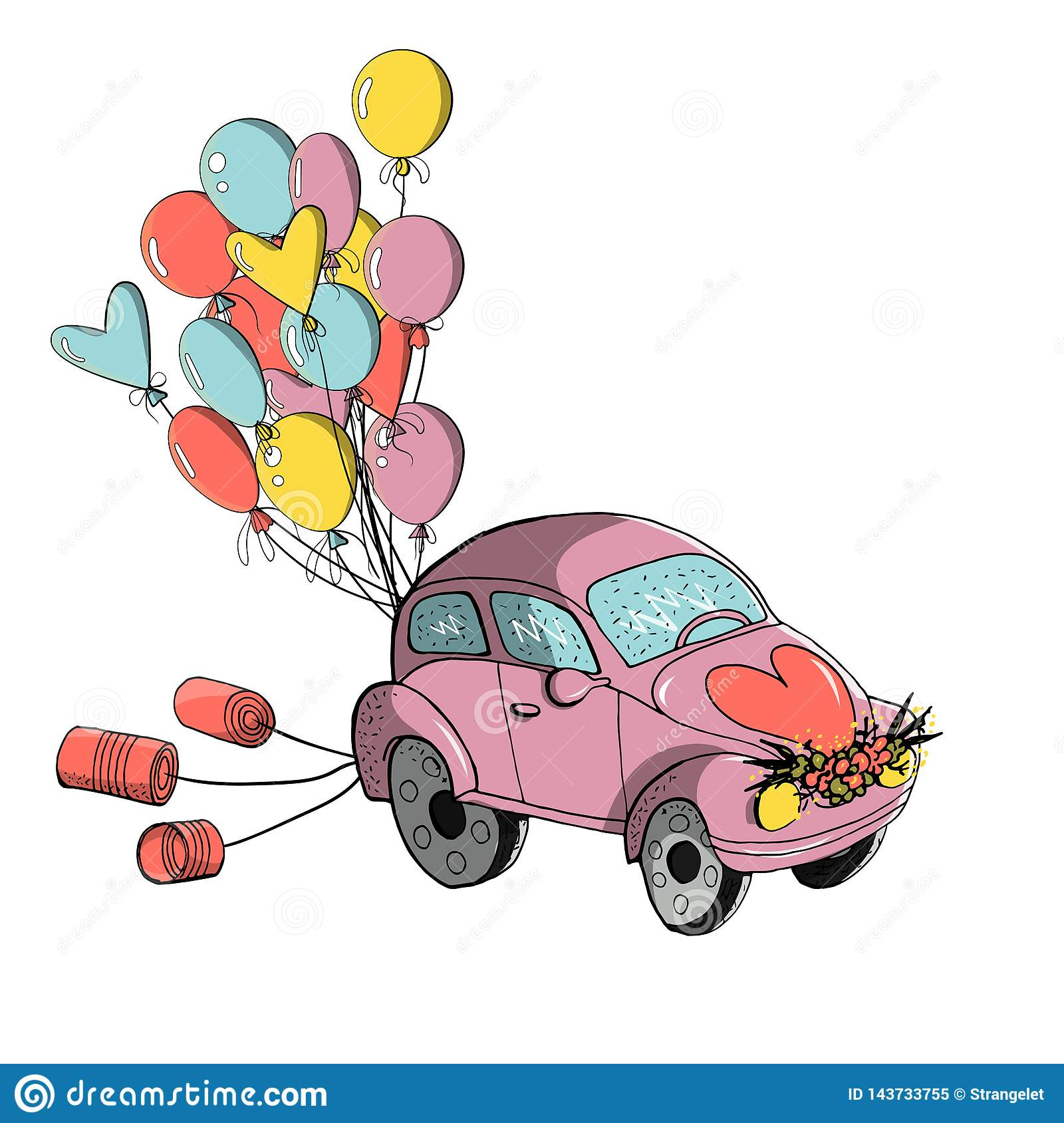 hight resolution of wedding clipart small retro car decorated with tin cans and colorful balloons for wedding