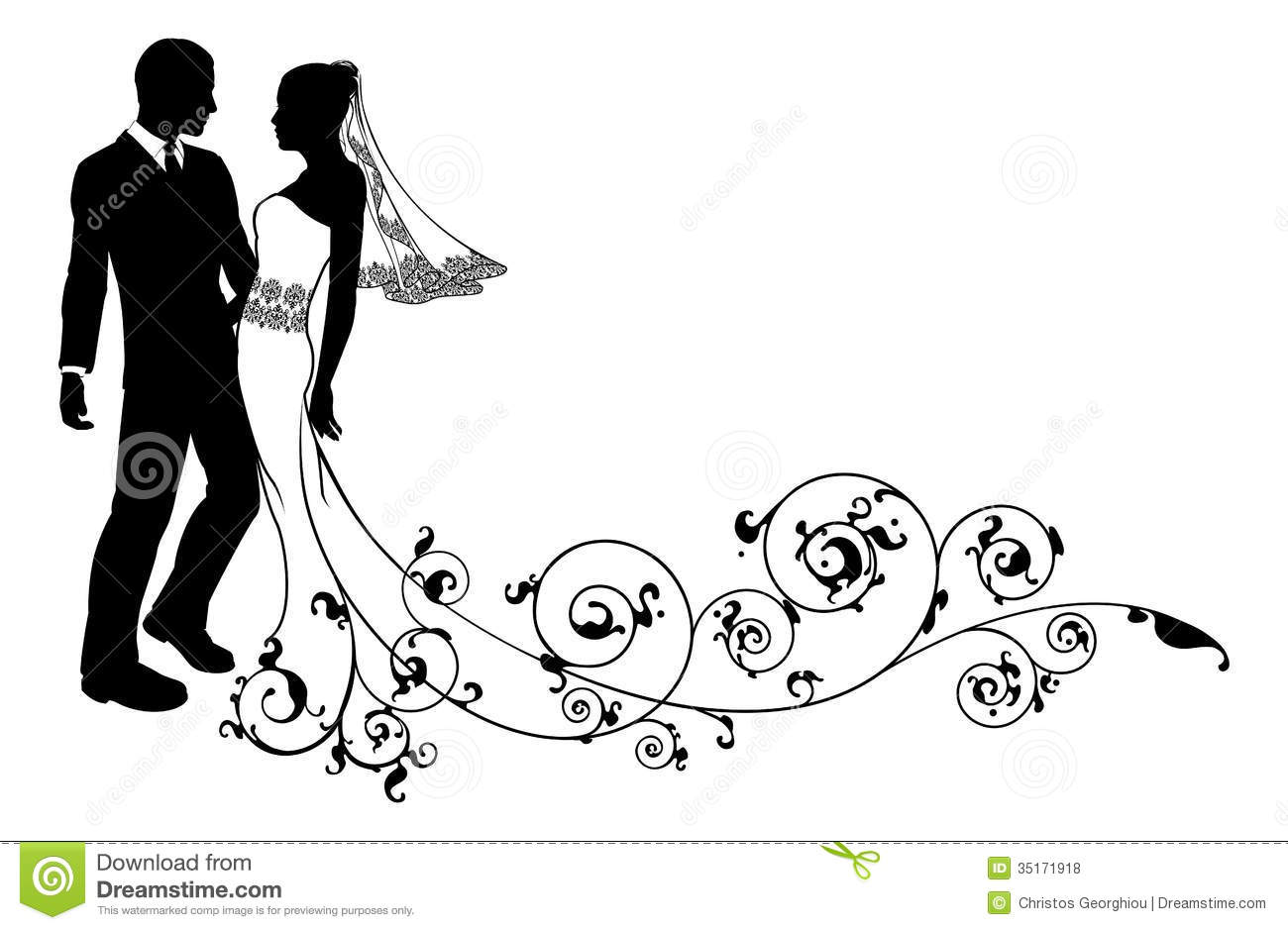 Wedding Couple Bride And Groom Silhouette Royalty Free