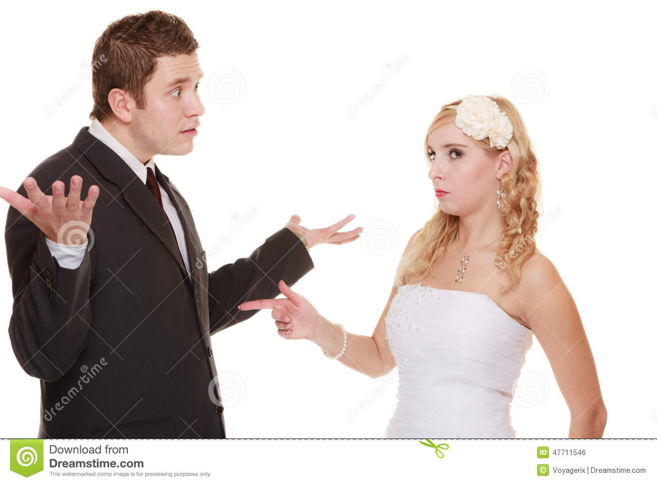 Wedding Couple Having Argument Conflict Bad Relationships