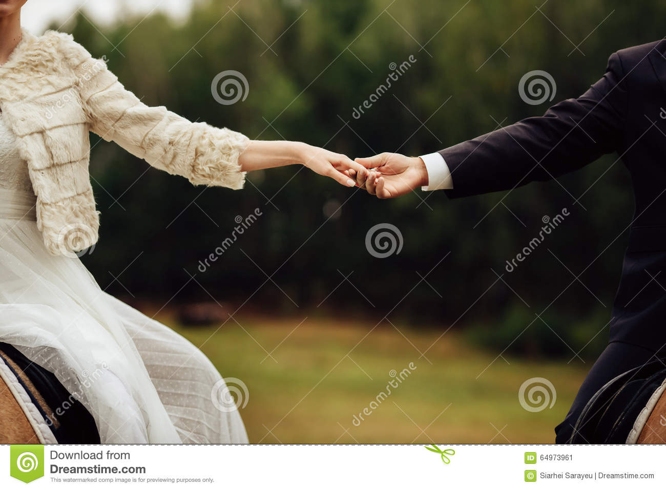 Wedding Couple Holding Hands Sitting On The Horses Stock