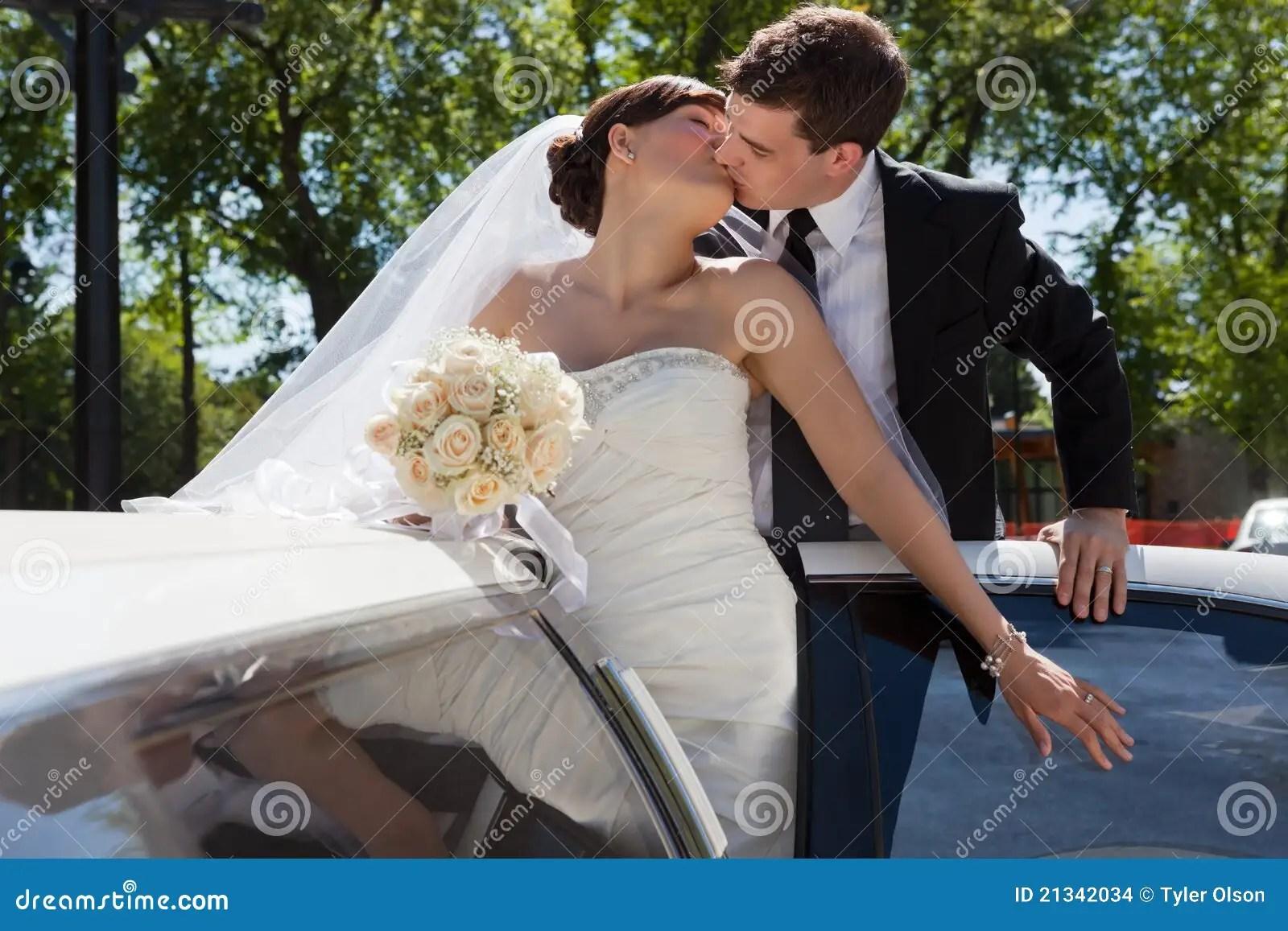 Wedding Couple Kiss Stock Images