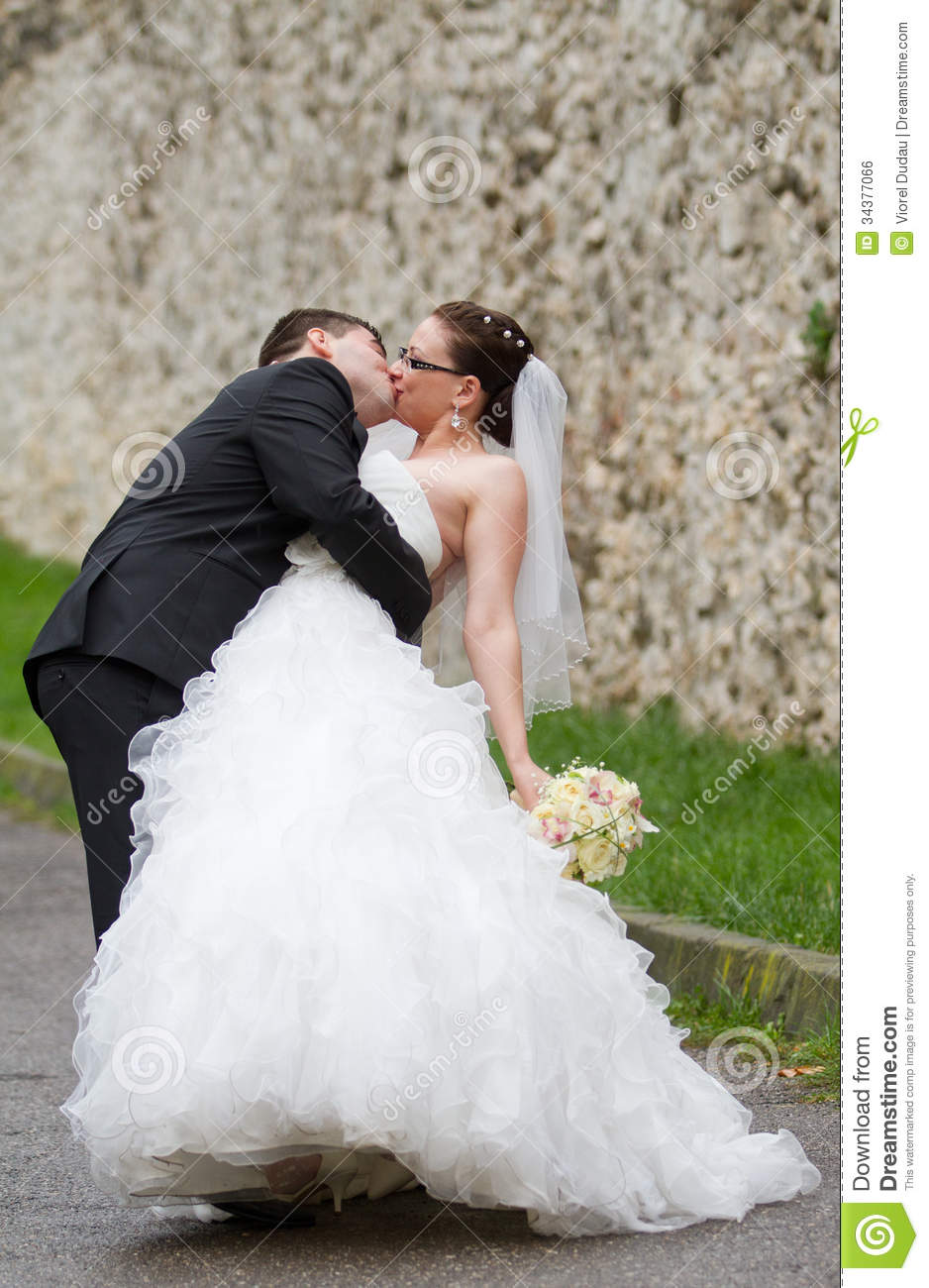Wedding Couple Kiss Stock Photo Image Of Shooting