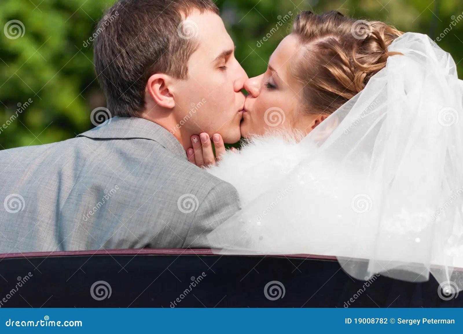 Wedding Couple Is Kissing Stock Photography