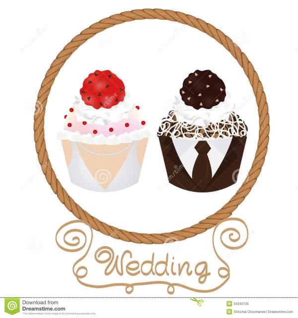 wedding cupcakes bride and groom