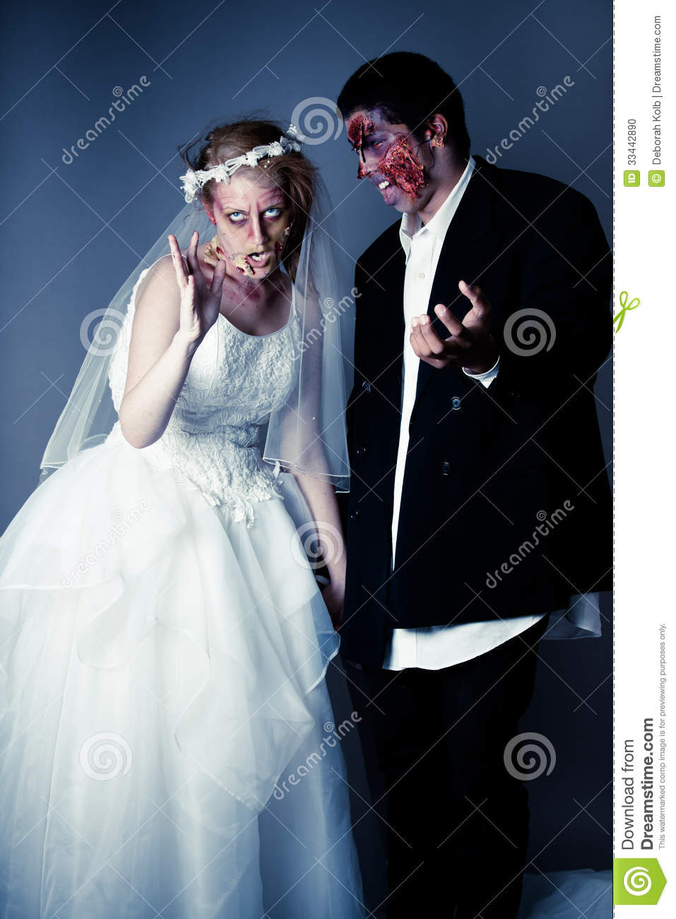 Wedding Day Zombie Bride And Groom Stock Photo  Image of book girl 33442890